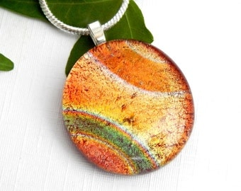Mixed Red Dichroic Glass Round Pendant - Fused Glass Jewelry - Russet Copper Art Glass Necklace