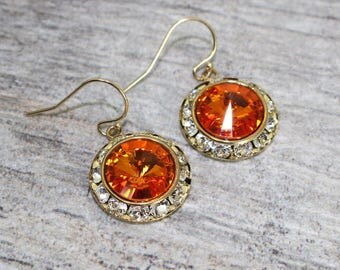 SALE 14k Gold Tangerine Earrings | Swarovski Crystal Earrings | Bridal Jewelry | Wedding Jewelry