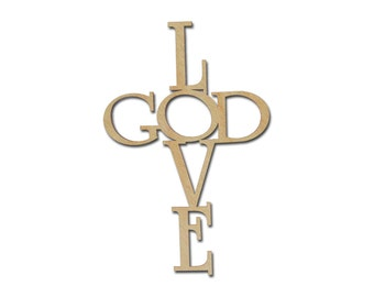 Love God Wood Cross Unfinished Wooden Craft Crosses