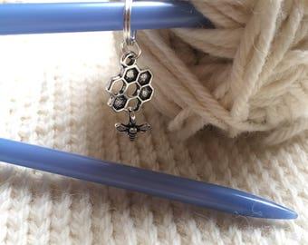 Honey bee stitch marker or progress marker