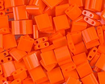 Opaque Orange Miyuki Tila Two Hole Beads - 8 grams - 3752 - Opaque Orange Tila Beads - TL-406 Miyuki Tila Bead