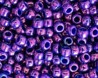 8/0 Higher Metallic Grape Toho Round Seed Beads - 4051 - 8/0 Higher Metallic Grape Round Seed Beads - Color 8-461T - 15 Grams