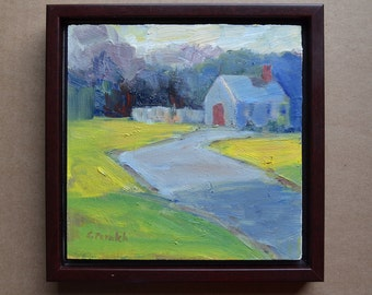 "Small landscape painting house original Oil green grass shadow country 6"" X 6"" Free Shipping"