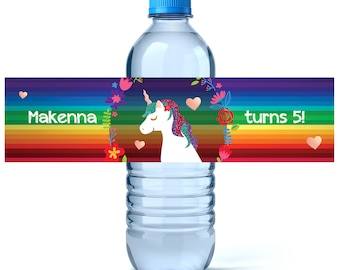 Unicorn Birthday Water Bottle Labels - Birthday Water Bottle Label - Personalized Water Bottle - Unicorn Rainbow Birthday - Girl Birthday