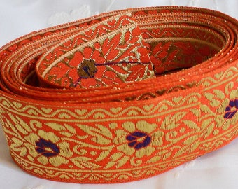 "Gorgeous 3 Yards x 1.75"" Wide Orange, Purple & Heavy Gold Metallic Jacquard Ribbon Trim Sewing, Floral, Craft Supplies"