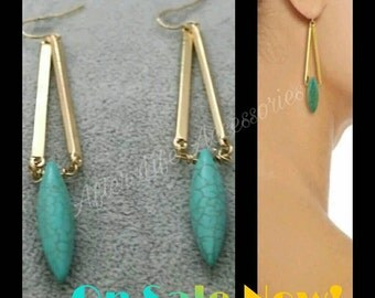 After Life Accessories Handmade Gold Turquoise Drop Earrings