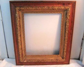 Large antique wood frame, decorative frame, ornate frame, dark wood picture frame, gold gesso frame,16 x 20, edwardian, victorian, 1800s