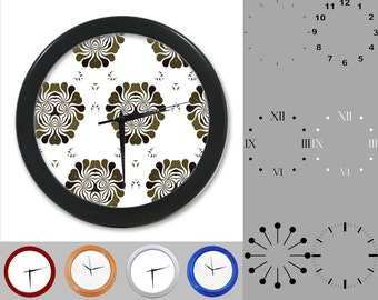 Abstract Cluster Wall Clock, Fun Floral Design, Gray Artistic, Customizable Clock, Round Wall Clock, Your Choice Clock Face or Clock Dial