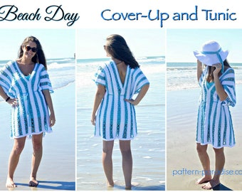 Crochet Pattern for Beach Day Bathing Suit Cover-Up Tunic