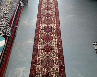 SPRING SALE Reserved for Kari - 1990s Hand-Knotted Karaja Persian Rug Runner (1965)