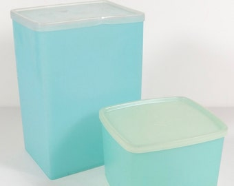 Pastel Blue Tupperware - Set of 2 Small and Large Vintage Tall Rectangular Tupperware Square Box - Container and Small Square Container