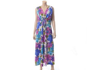 Vintage 60s Hawaiian Caftan Dress 1960s Floral Polynesian Luau Cinch Front Tiki Party Hippie Boho MuuMuu Dress / One Size / XL / Plus
