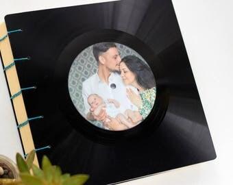 Personalized handmade vintage retro photo album, recycled LP vinyl record photo album, coptic binding, music photo album