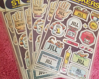 Vintage 1982 Name Stickers Jill Robin Terri Jane Cathy
