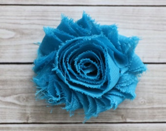 Turquoise shabby chic rosette hair clip frayed chiffon flower clip