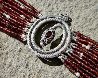 Repurposed Vintage Snake Brooch, Multi Strand Mozambique Garnet Bracelet, Deco Brooch Jewelry, Repurposed Jewelry, Snake Bracelet, Gemstones