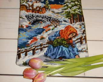 Swedish hand embroidered pillow case  / vintage / picking fire wood