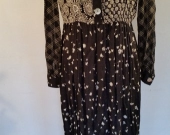 Vintage Carole Little Dress 1980's  Boho Maxi Dress Black and White Tribal Design Empire Waist Peasant Rayon/Acetate Blend Made in USA Sz S