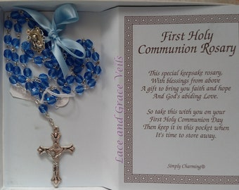 First Communion Rosary, Blue Glass Bead