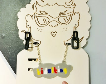 Kidulting chunky colourful acrylic statement necklace - playful typography - 80s style - primary colours