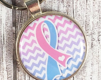 Pregnancy and infant loss - Miscarriage key chain - Bereavement gift - Pink and blue - Awareness ribbon - Gone but not forgotten