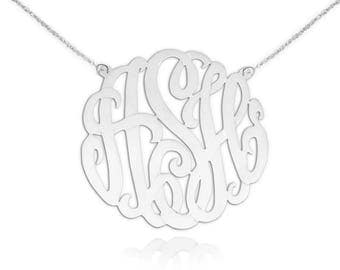 Monogram Necklace - 1.5 inch Sterling Silver Handcrafted Initials Personalized Monogram Initial Necklace - Made in USA