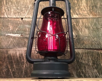 Electrified Antique Dietz Kerosene Lantern with Amber Glass