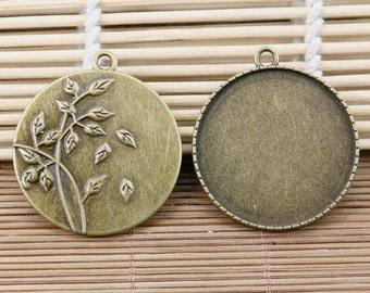 2pcs antiqued bronze leaf pattern round 35mm photo frame setting EF2174