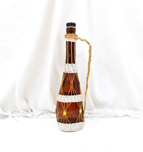 Vintage French 1960s Mid Century Amber Glass Bottle with Metal Wire and White Plastic Decoration, Retro Home Interior, Kitch 1970 Bottle