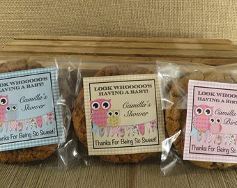 Personalized Favor Bags - Cookie Bags -  Camilla Design with Owls & Bunting- 24 Cellophane Bags and Personalized Stickers -ANY OCCASION