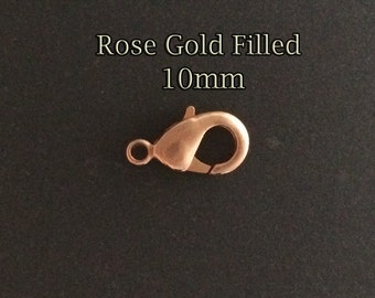 50pcs Rose Gold filled Lobster clasps wholesale , rose gold fill lobster Claw Trigger clasps bulk , rose gold lobster clasps , 25%Off