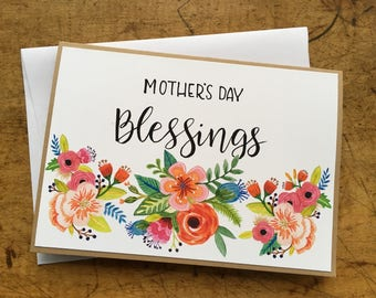 Mother's Day card, hand made, hand painted floral design, hand lettered calligraphy, Kraft stock, 5 x 7