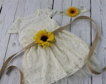Rustic Flower Girl Dress Sunflower Flower Girl Dress Ivory Flower Girl Dress Sunflower Sash Ivory Jr Bridesmaid Dress Country Flower Girl