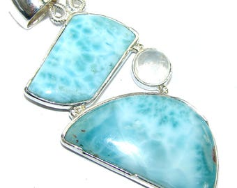 Larimar, Moonstone Sterling Silver Pendant - weight 11.00g - dim L -2 1 2, W - 1, T -3 16 inch - code 16-mar-16-49