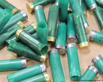 100 GREEN 12 Gauge Used Empty Shotgun shells for crafts, spent shells, rustic art, shotgun shell art, red neck wedding decor, jewelry making