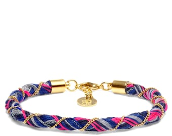 Summer bracelet bright pink and royal blue thread with twisted gold chain