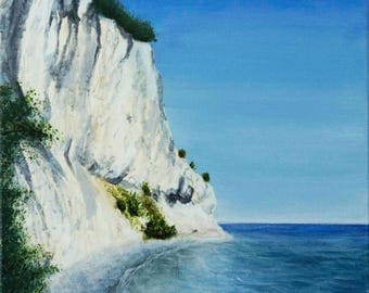 """Cliff Painting - Acrylic on Canvas 16"""" x 16"""" """"Mons Klint, Denmark"""""""