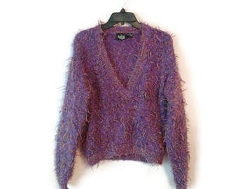Vintage 1990s Top PURPLE FUZZY shirt sweater Pullover V neck Mohair blend Size Medium