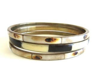 Lot Three Brass & Enamel Bangles Made In India