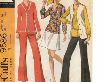 "A Mod Separates Pattern for Women: Cardigan-Jacket, Vest, and Bellbottom Pants (No Skirt Included) - Size 10, Bust 32-1/2"" • McCall's 9586"