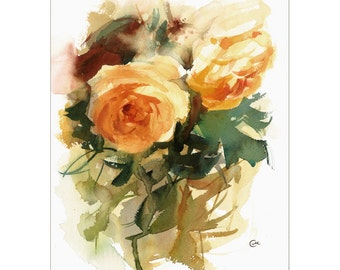 Yellow Roses - Original Watercolor Painting 9x12 inches Flowers Mother's Day