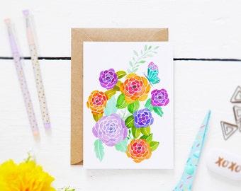 SALE - HALF PRICE - Watercolour Wonderful Blooms - Postcard