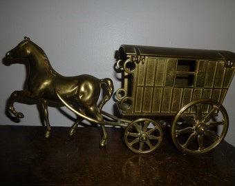 Solid Brass Horse and Carriage with Swing Top Roof - Designed as Cigarette Box - Stylish Storage and Decor - Unusual Form - English Brass