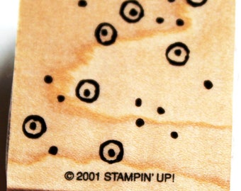 Dots and Circles with Dots in the Middle Background Rubber Stamp retired from Stampin Up