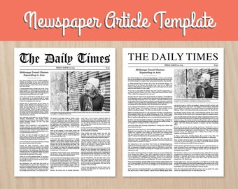 Custom Newspaper Article DIY printable
