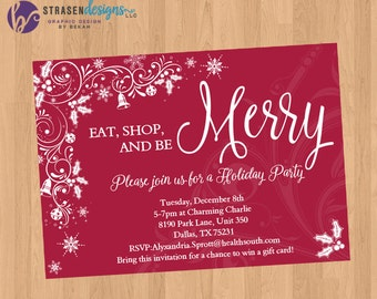 Be Merry Red Floral Holiday Card