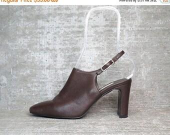 25% OFF vtg 80s Brown Leather Slingback Shoes Sandals