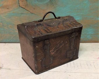 Rare Early Carr Travel Steamer Trunk Luggage Small Antique Biscuit Tin, Vintage Tin Box, Primitive Brown Trunk