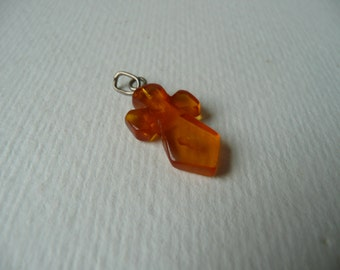 Antique vintage Amber cross pendant with silver mounting