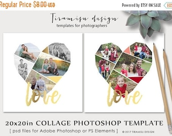 ON SALE Valentine's Day Heart Collage Template for Adobe Photoshop ,20x20 Print Template, Blog Board, Storyboard Template sku cb-17